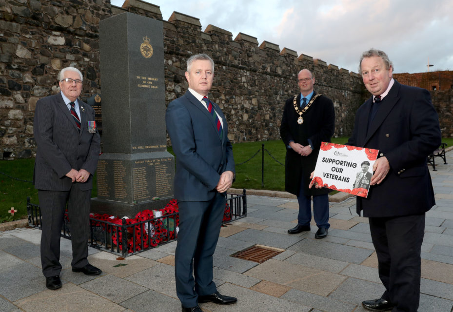 Local veteran Ron Harrison; Alderman Paul Michael, Council Veterans' Champion; Mayor of Antrim and Newtownabbey, Councillor Jim Montgomery; and Veterans Commissioner, Danny Kinahan.